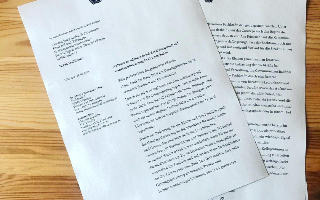 Antwort zu offenem Brief: Rechtsanspruch auf Ganztagesbetreuung in Grundschulen